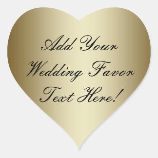 Faites votre propre faveur de mariage d'or sticker cœur