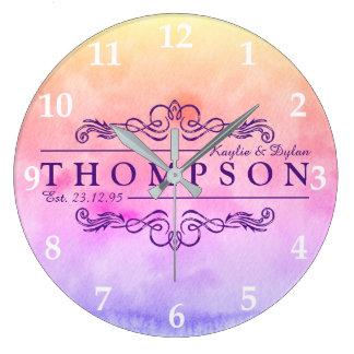 Faites votre propre monogramme d'anniversaire grande horloge ronde