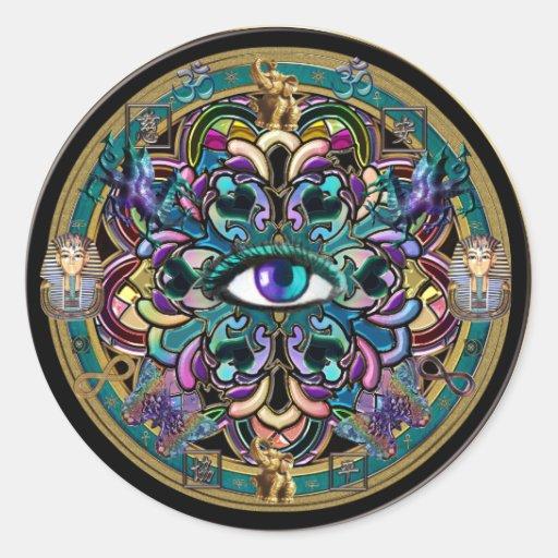 Faites-vous confiance ~ les yeux du mandala du adhésif rond
