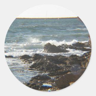 Falaises de mer adhésifs ronds