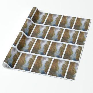 Falaises en bois de forêt d'environnement de papier cadeau