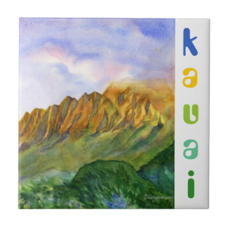Falaises Kauai Hawaï de lever de soleil Petit Carreau Carré