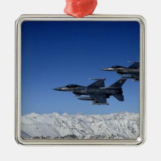 Falcons de combat de F-16 de l'Armée de l'Air Ornement Carré Argenté