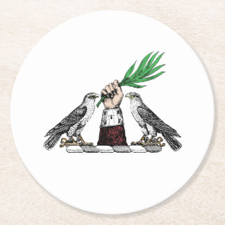 Falcons héraldiques vintages avec l'emblème de dessous-de-verre rond en papier