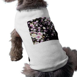 Falln cascadant les fleurs roses t-shirt pour chien