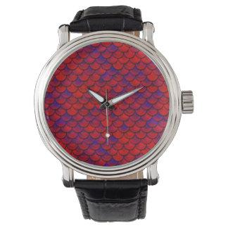 Falln échelles rouges et de pourpre montres bracelet