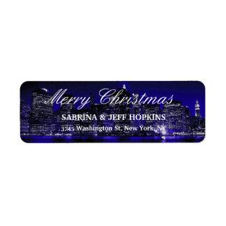 Famille bleue de message de Joyeux Noël de New Étiquette D'adresse Retour