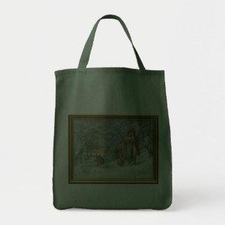 Famille dans la forêt d'hiver sacs en toile