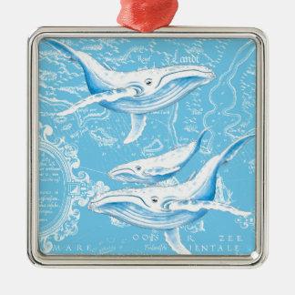 Famille de baleines bleues ornement carré argenté