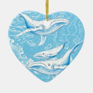 Famille de baleines bleues ornement cœur en céramique