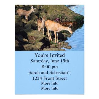 Famille de cerfs communs avec les faons jumeaux cartons d'invitation personnalisés