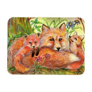 Famille de Fox dans les bois Magnet Flexible