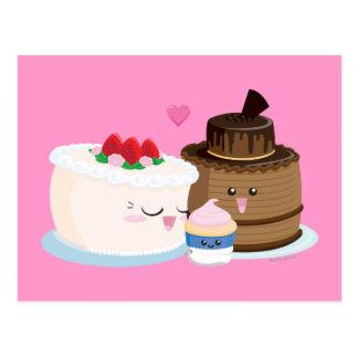 Famille de gâteau carte postale