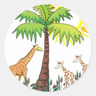 Famille de girafe adhésif rond