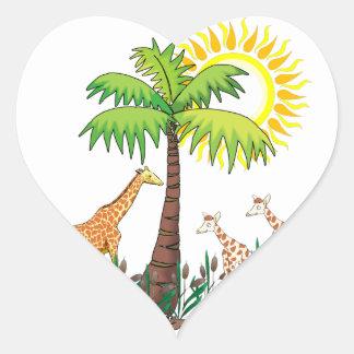 Famille de girafe autocollants en cœur