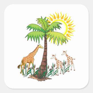 Famille de girafe sticker carré