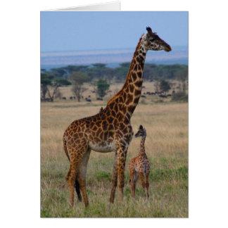 Famille de girafe carte de correspondance