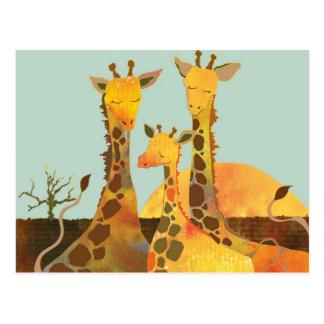 Famille de girafe carte postale
