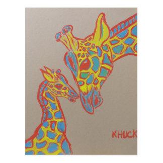 Famille de girafe cartes postales