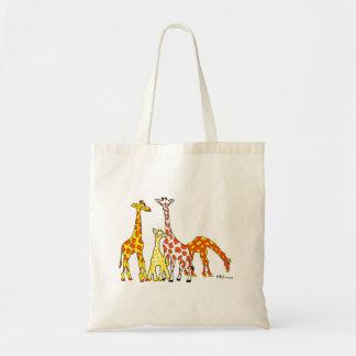 Famille de girafe dans le sac fourre-tout orange
