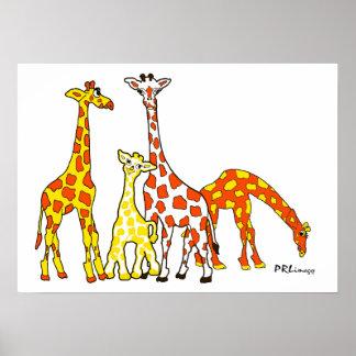 Famille de girafe en affiche orange et jaune