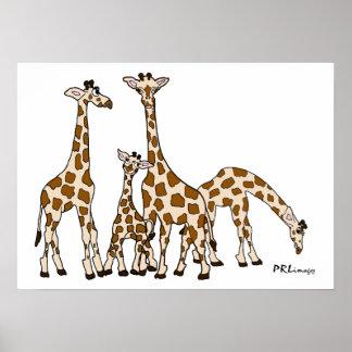 Famille de girafe en Brown et affiche beige