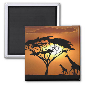 famille de girafe magnet carré