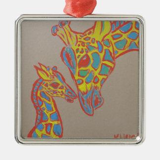 Famille de girafe ornement carré argenté
