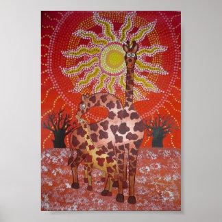 Famille de girafe affiche