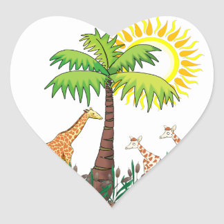 Famille de girafe sticker cœur