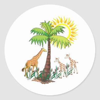 Famille de girafe sticker rond