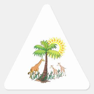 Famille de girafe sticker triangulaire