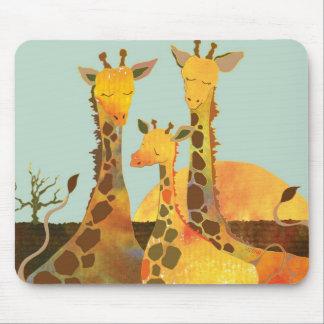 Famille de girafe tapis de souris