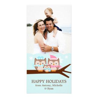 Famille de hiboux d'hiver cartes de vœux avec photo