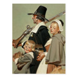 Famille de pèlerin. Cartes postales de thanksgivin