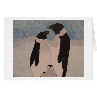 Famille de pingouin carte de vœux