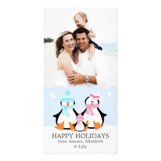 Famille de pingouin cartes de vœux avec photo