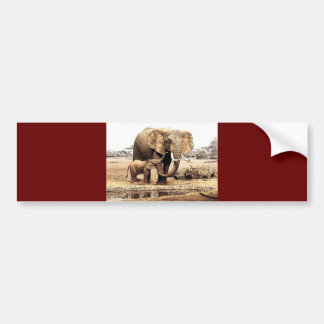 Famille d'éléphant autocollant pour voiture