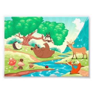 Famille des animaux dans le bois photo d'art
