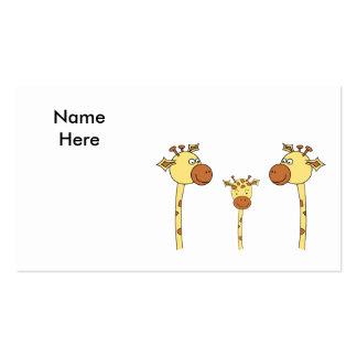 Famille des girafes. Bande dessinée Carte De Visite
