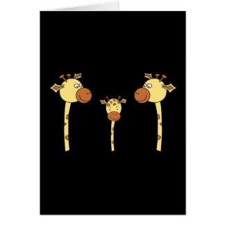 Famille des girafes. Bande dessinée Carte De Vœux
