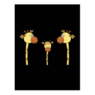 Famille des girafes. Bande dessinée Cartes Postales