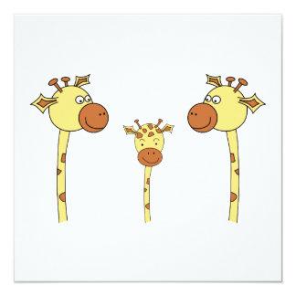 Famille des girafes. Bande dessinée Carton D'invitation 13,33 Cm