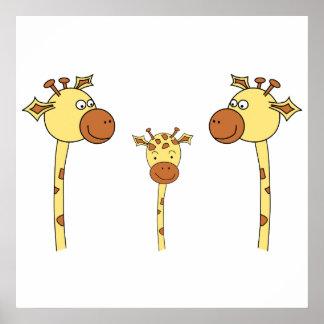 Famille des girafes. Bande dessinée Poster