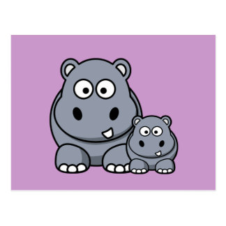 Famille d'hippopotame de bébé, safari sauvage carte postale