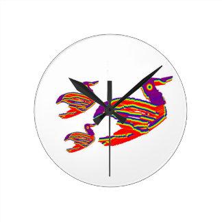 Famille d'oiseau mignonne : Art décoratif heureux Pendules