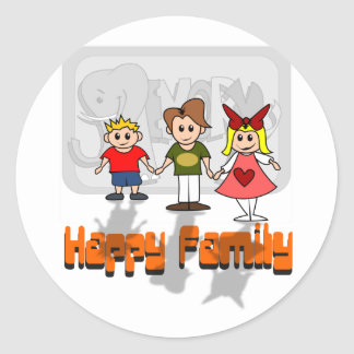 Famille heureuse adhésifs ronds