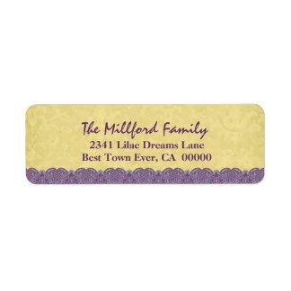 Famille imprimée de dentelle colorée par or étiquettes d'adresse retour
