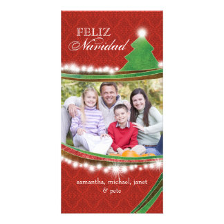 Famille joyeuse Photocards de Noël de Feliz Navida Modèle Pour Photocarte