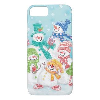 Famille mignonne de bonhomme de neige de Noël dans Coque iPhone 7